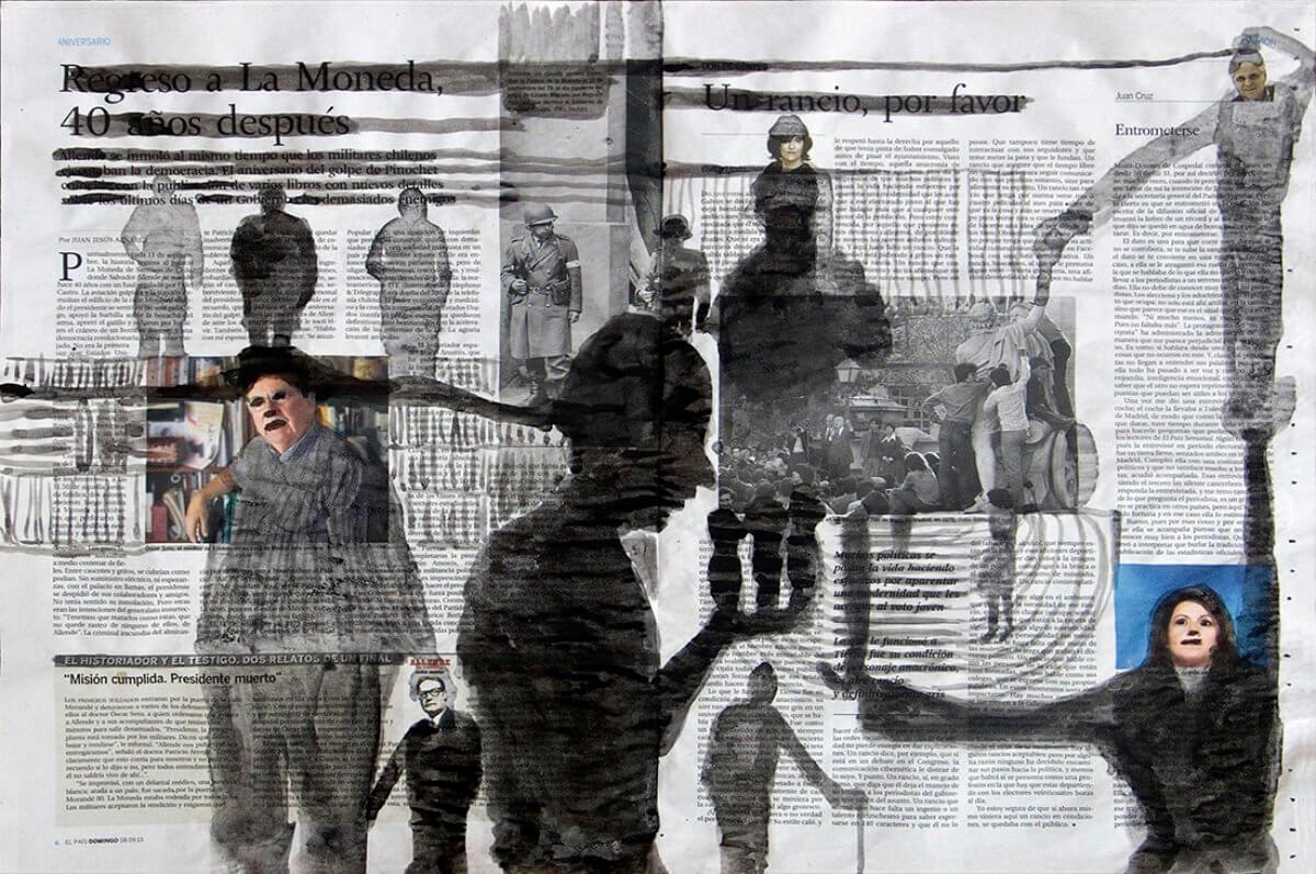 Sobre El País (Allende), series 38 drawings, 40 x 57 cm, ink on newspaper, 2013