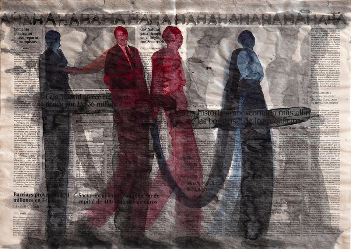 Sobre El País (HAHAHA), series 38 drawings, 40 x 57 cm, ink on newspaper, 2013