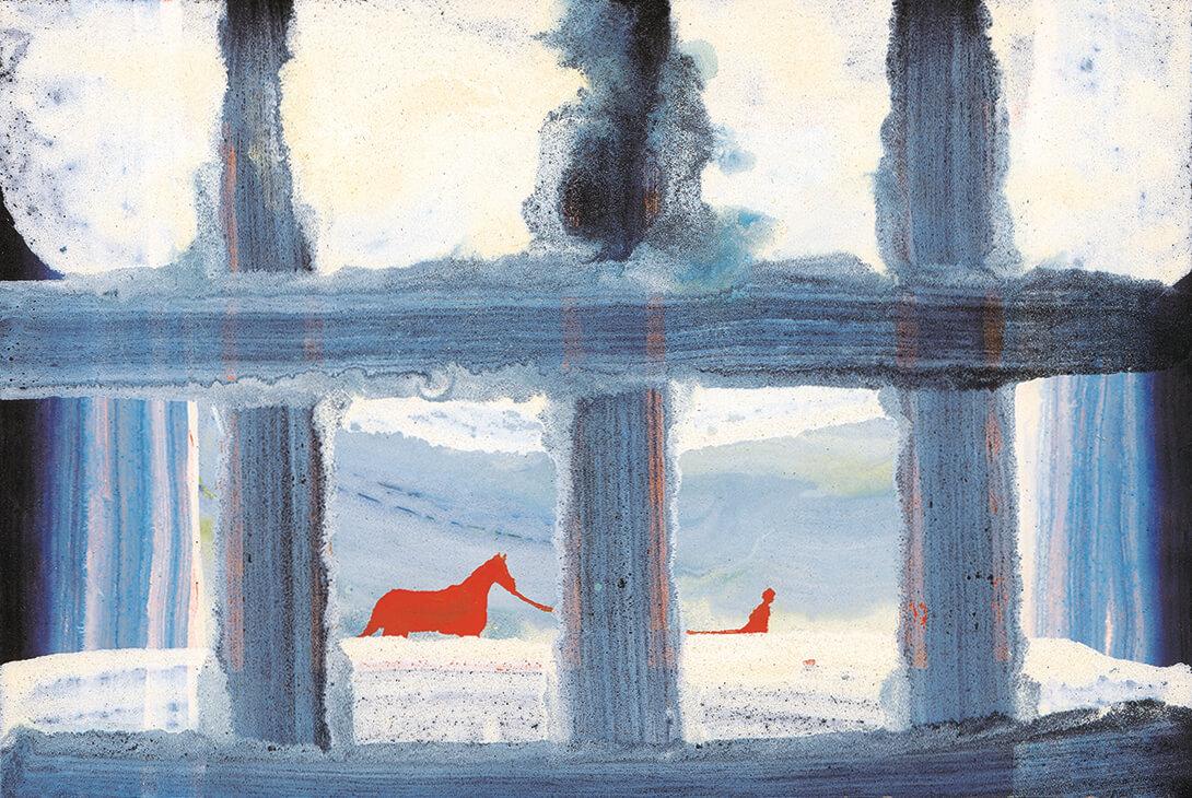 untitled (hombre tira caballo), 16 x 23 cm, egg tempera on paper, 2002