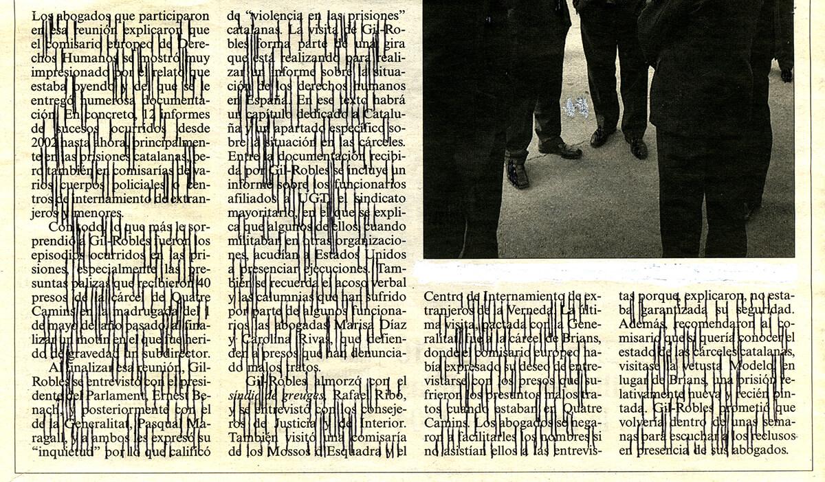 Los abogados, 12 x 21.5 cm, ink on newspaper, 2005