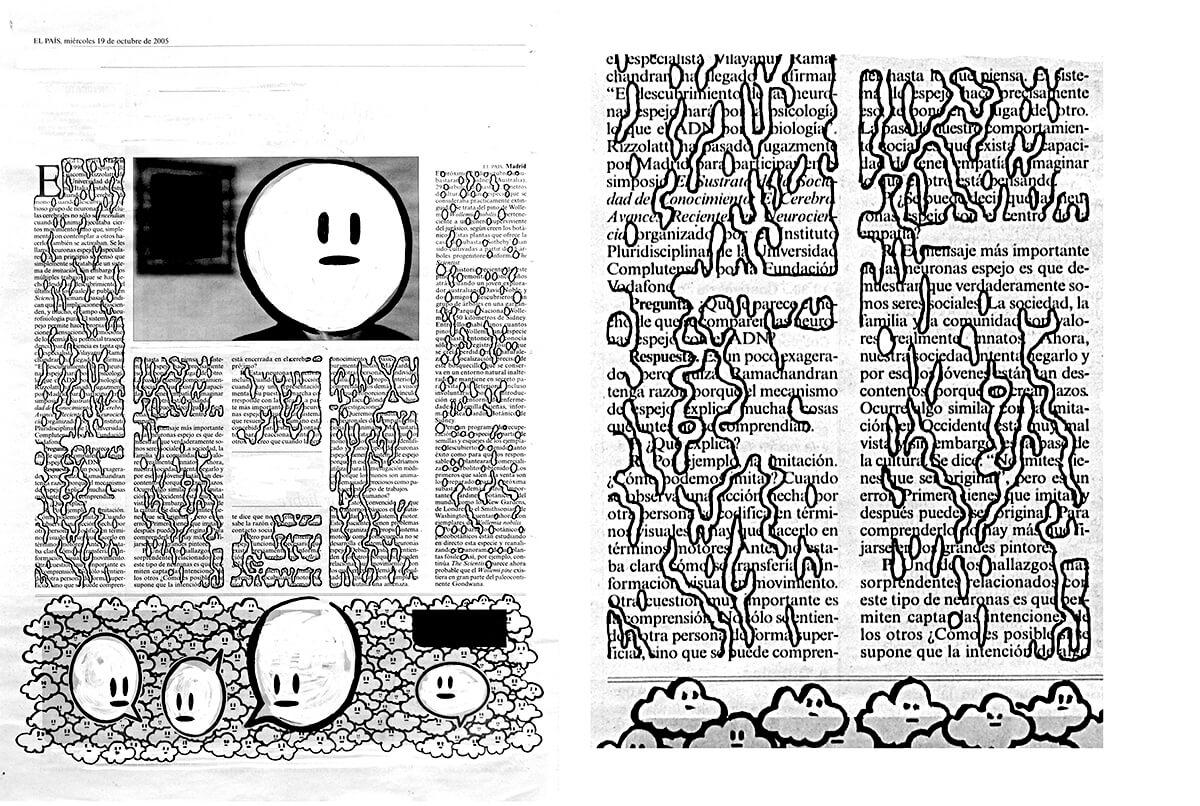 Neuronas espejo (with detail), 42 x 30 cm, ink on newspaper, 2005