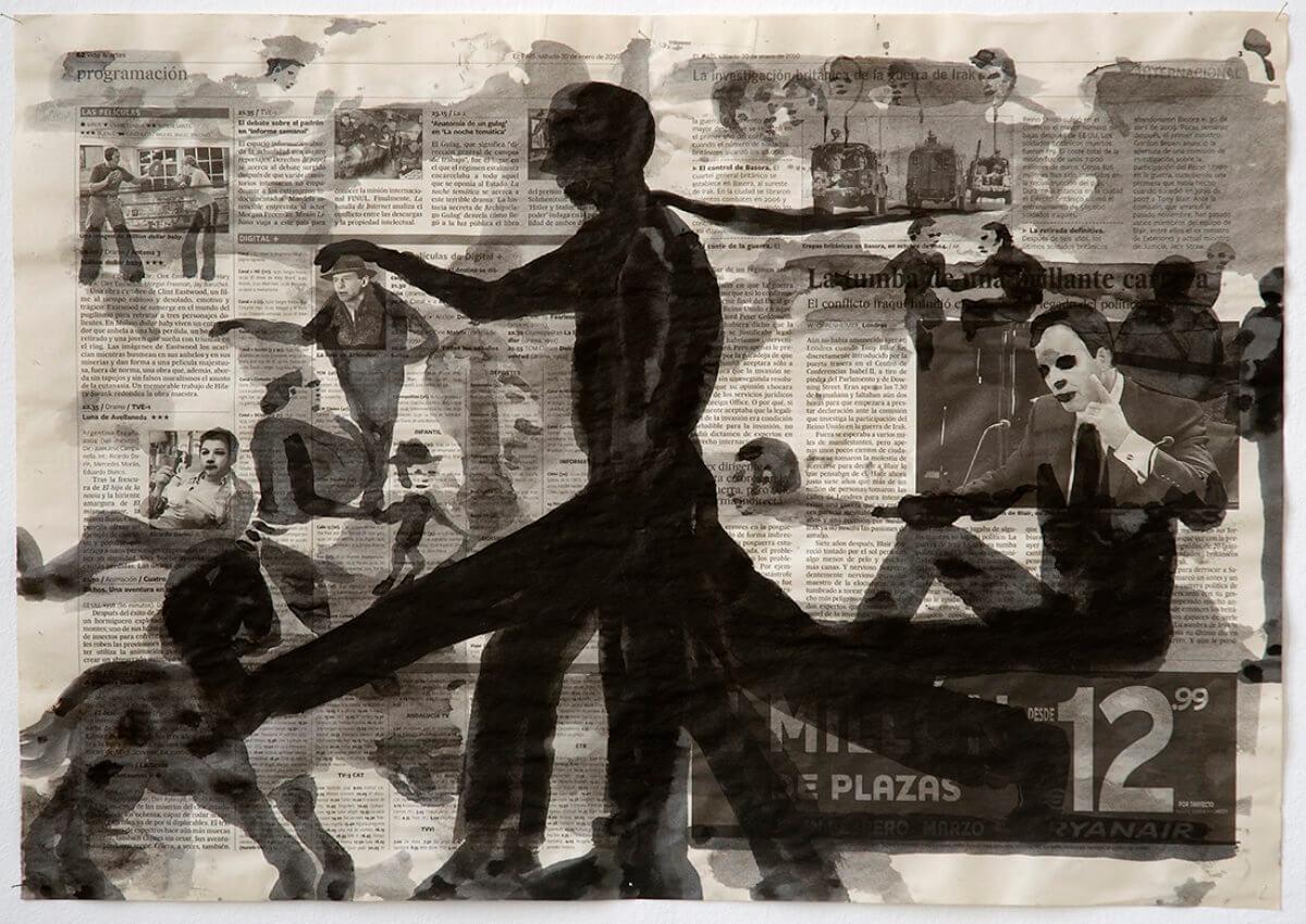 Sobre El País (Walking 5 legs), series 38 drawings, 40 x 57 cm, ink on newspaper, 2010