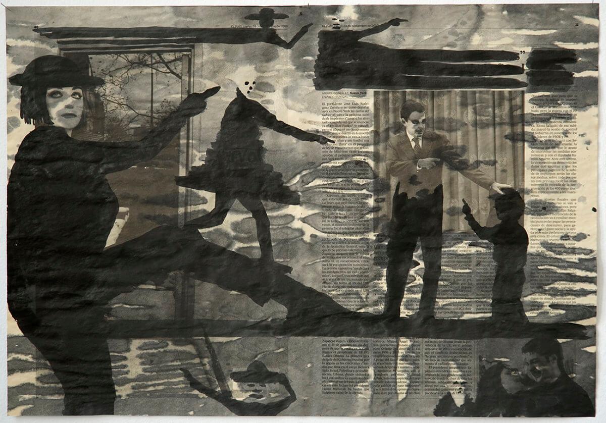 Sobre El País (pointing), series 38 drawings, 40 x 57 cm, ink on newspaper, 2010