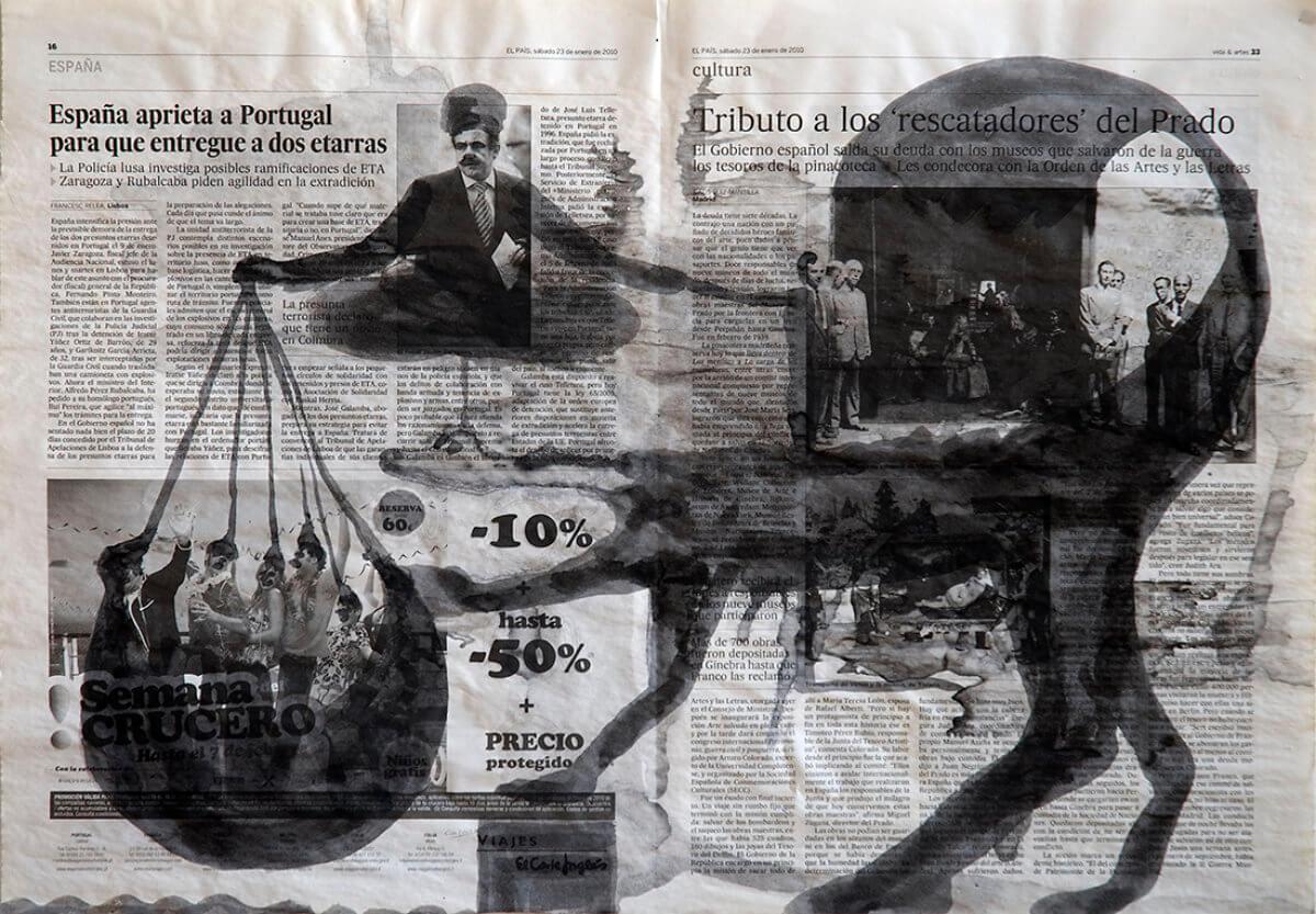 Sobre El País (Fakir), series 38 drawings, 40 x 57 cm, ink on newspaper, 2011