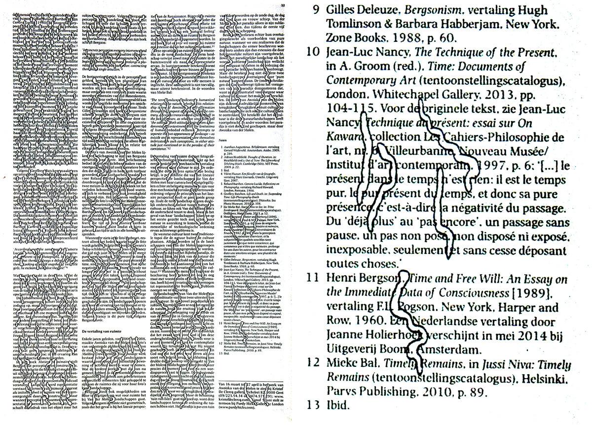 De dimensie (with detail), 42 x 30 cm, ink on newspaper, 2014