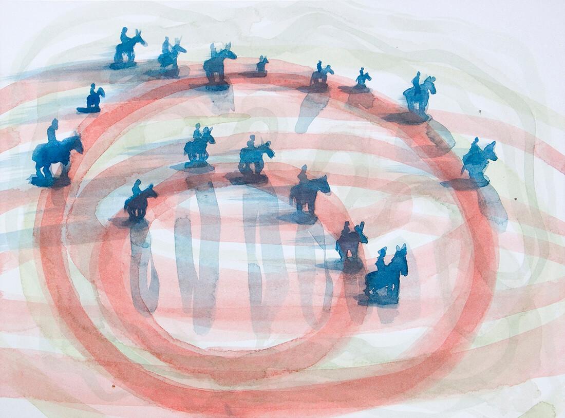 untitled (horsemen Culla), 23 x 31 cm, watercolour, 2014