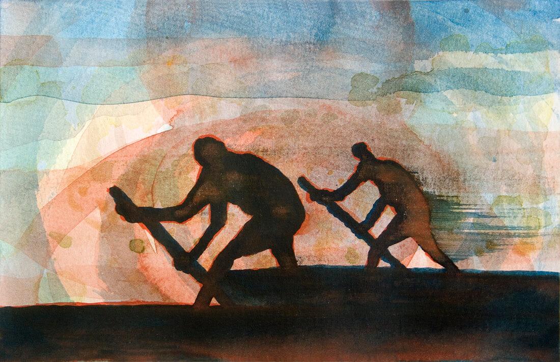 untitled (pedlars), 10 x 15 cm, watercolour, 2014