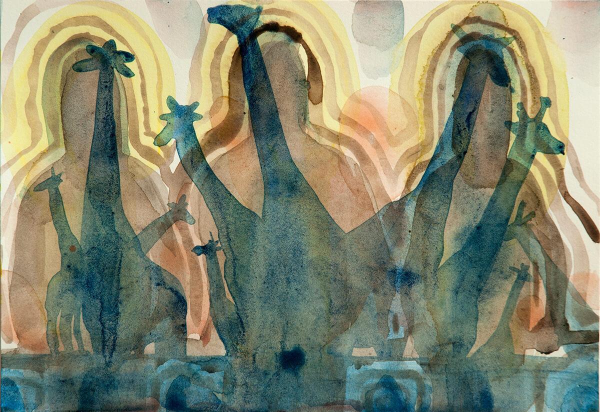 untitled (giraffes), 18 x 26 cm, watercolour, 2016